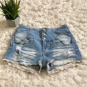 High waist crochet trim jean shorts